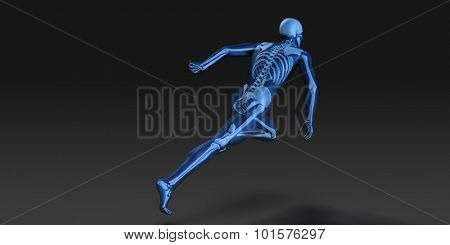 3D Concept of Human Male Body and Skeleton Running