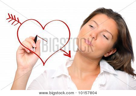 Woman Drawing A Heart