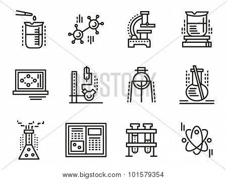 Chemistry symbols simple line vector icons set