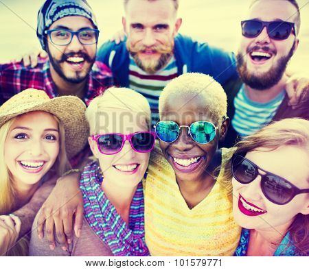Friends Huddle Cheerful Union Summer Concept