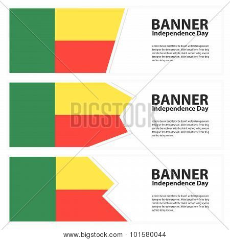 Benin Flag Banners Collection Independence Day