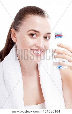 Happy Smiling Woman With Bottle Of Water