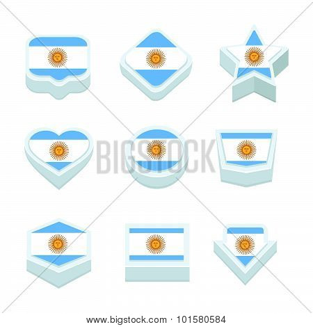 Antigua And Barbuda Flags Icons And Button Set Nine Styles