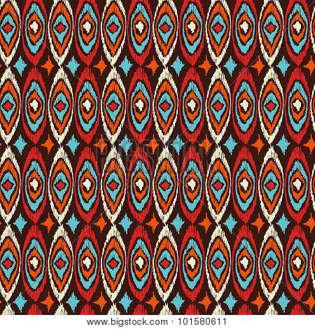 Boho Seamless Pattern Vintage Shapes Background