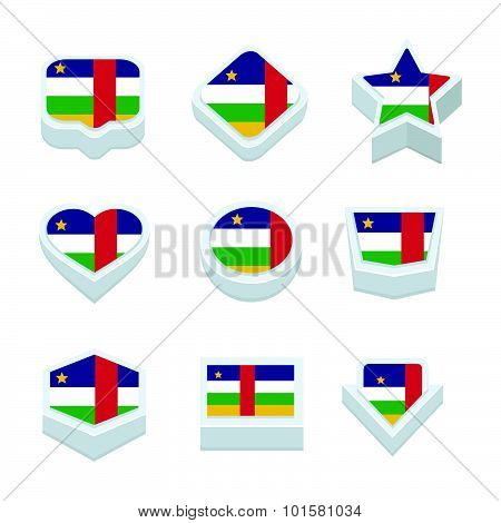 Central African Republic Flags Icons And Button Set Nine Styles