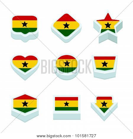 Ghana Flags Icons And Button Set Nine Styles