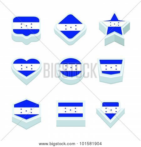 Honduras Flags Icons And Button Set Nine Styles