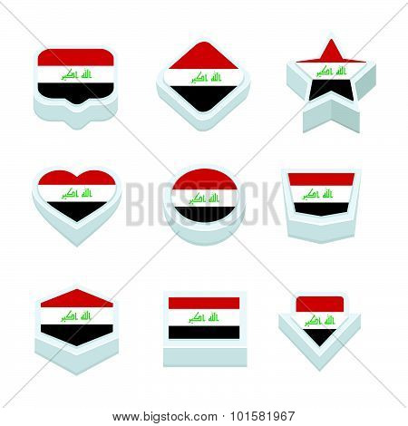 Iraq Flags Icons And Button Set Nine Styles