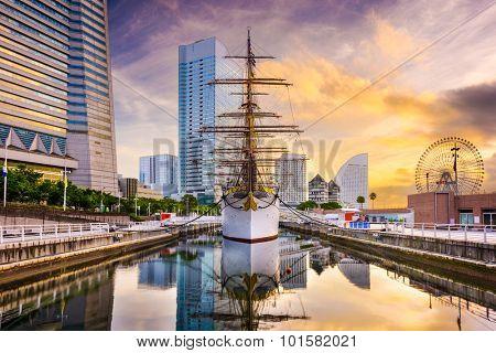 Yokohama, Japan dawn at Minato-mirai District.