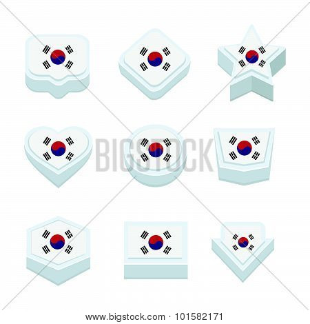 Korea South Flags Icons And Button Set Nine Styles