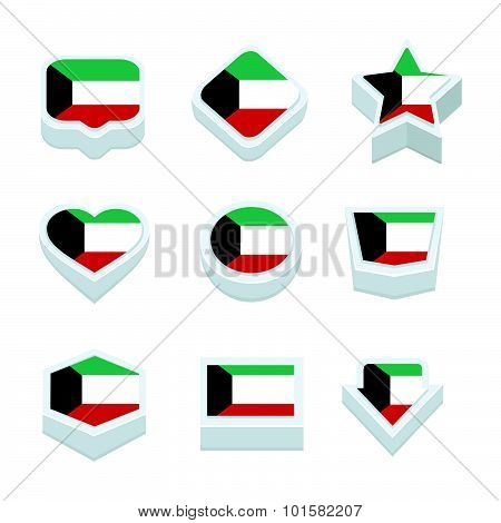 Kuwait Flags Icons And Button Set Nine Styles
