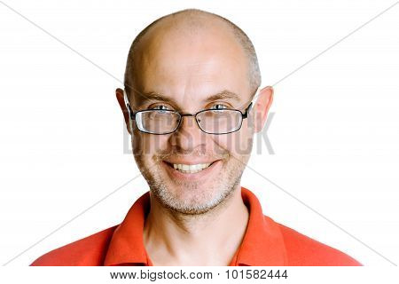 Smiling Unshaven Man On A White Background With Glasses