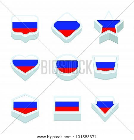 Russia Flags Icons And Button Set Nine Styles
