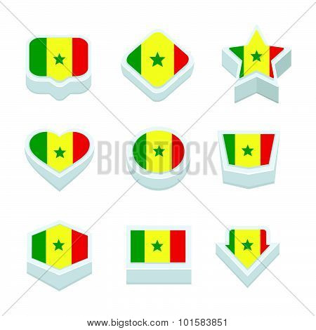 Senegal Flags Icons And Button Set Nine Styles