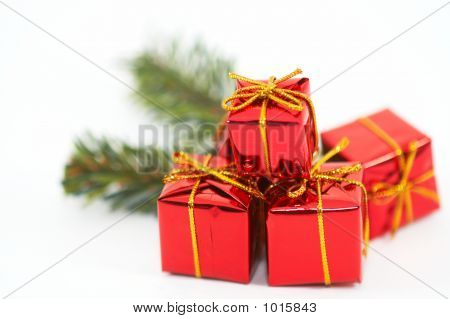 Christmas Presents, Ornaments On White Background