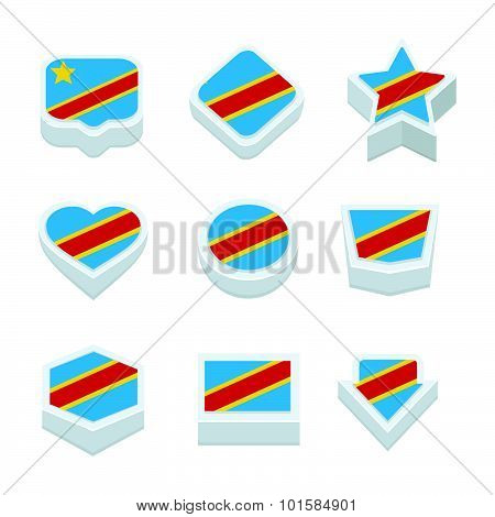The Democratic Republic Of The Congo Flags Icons And Button Set Nine Styles