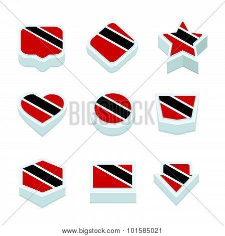 Trinidad & Tobago Flags Icons And Button Set Nine Styles