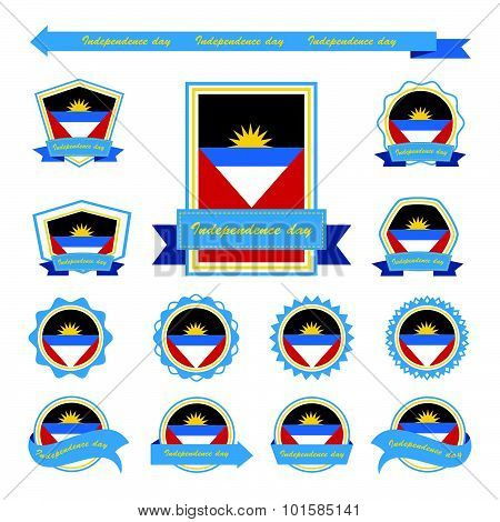 Antigua And Barbuda Independence Day Flags Infographic Design