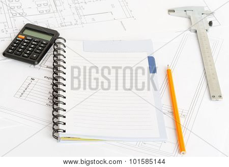 Drafts and exercise book