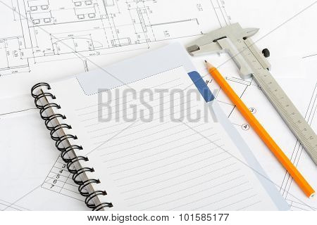 Drawings and exercise book