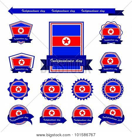Korea North Independence Day Flags Infographic Design