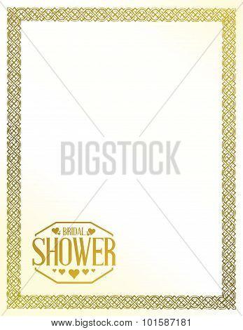 Bridal Shower Golden Border Sign Lines Background