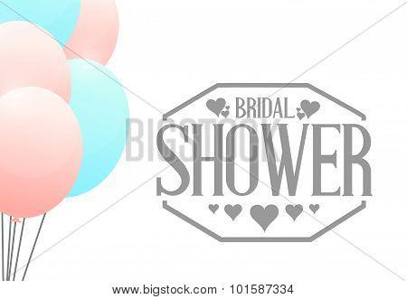 Bridal Shower Balloons Sign Illustration