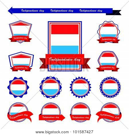 Luxembourg  Independence Day Flags Infographic Design