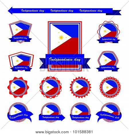Philippines Independence Day Flags Infographic Design