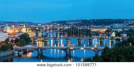 Panorama view of Bridges on Vltava, Prague at dusk