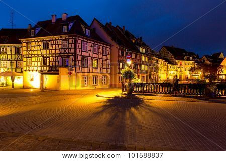 Colmar, Petit Venice, at dusk traditional colorful houses. Alsace, France.