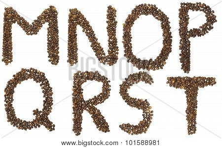 Letters M - T Of Coffee Beans