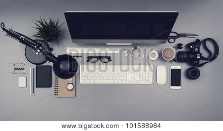 Top view office desk