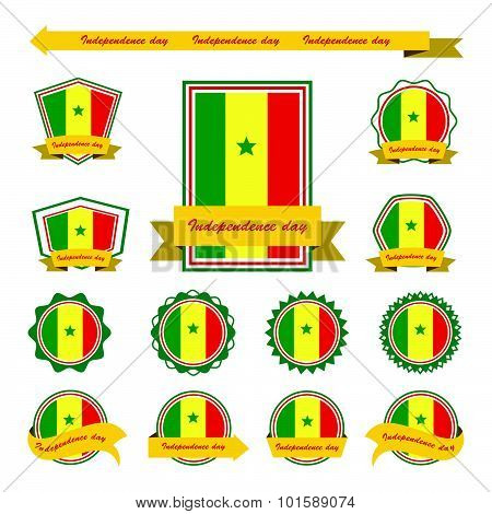 Senegal  Independence Day Flags Infographic Design