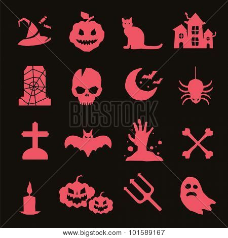 Halloween vector icons set. Pumpkin head, witch broom, candy and halloween hat. Black halloween icons set, halloween silhouette for helloween party design. Helloween night, ghost, black cat, zombie