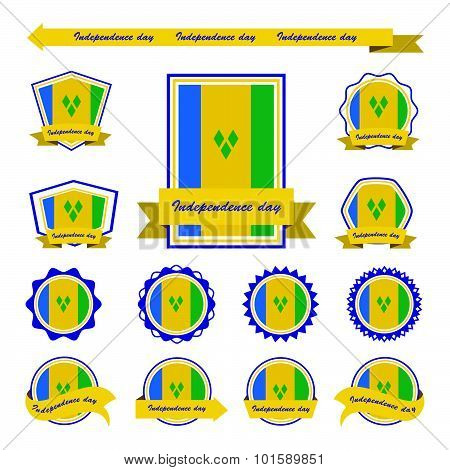St Vincent & The Grenadines Independence Day Flags Infographic Design