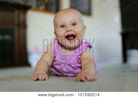 Super Happy Baby Girl Smiling At Home