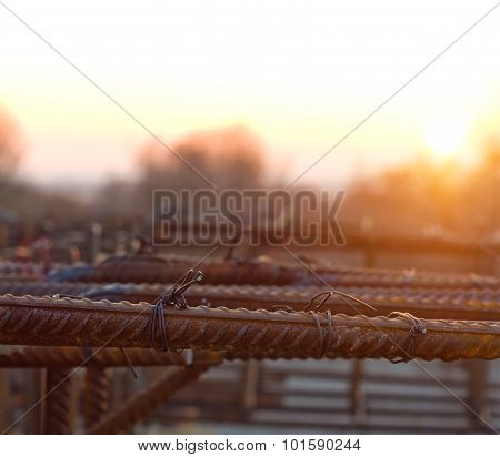 Armature Is Tied Under The Concrete Foundation At Sunset