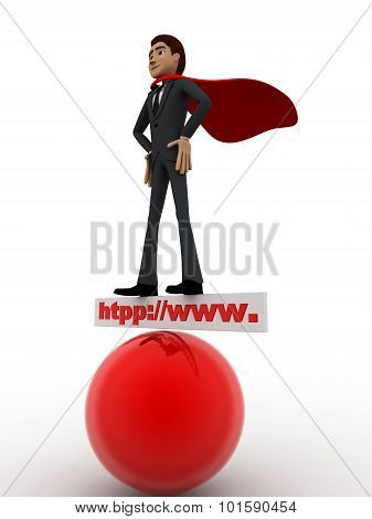 3D Man Super Hero Stand On Http Www Board And Red Sphere Concept