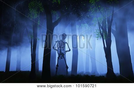 3D render of a Halloween background of a skeleton in a foggy forest