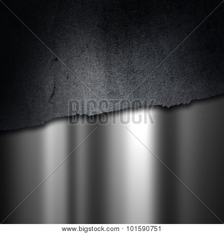 Grunge cracked concrete on a brushed metal background