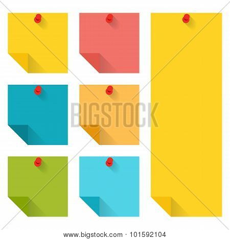 Flat design of colorful pinned sticky notes.