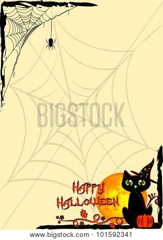 Festive Illustration On Theme Of Halloween. Corner Frames