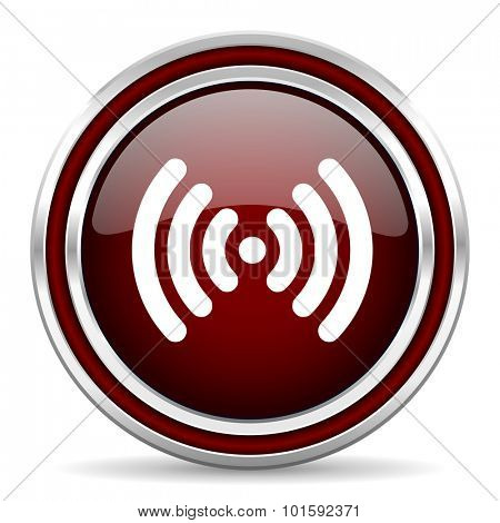 wifi red glossy web icon