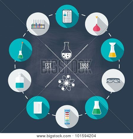 Chemical Laboratory Flat Icon Set. Scientific Research. Flat Design. Vector