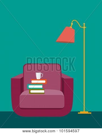 Reading room. Interior with a chair, books and a floor lamp. Vector illustration
