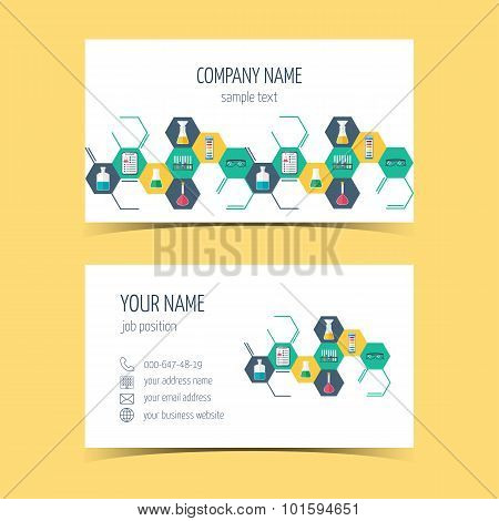 Business Cards For Chemical And Scientific Companies. Promotional Products. Vector