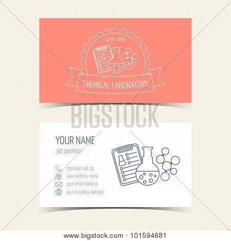 Red Business Cards For Chemical Laboratory And Scientific Companies. Promotional Products. Vector