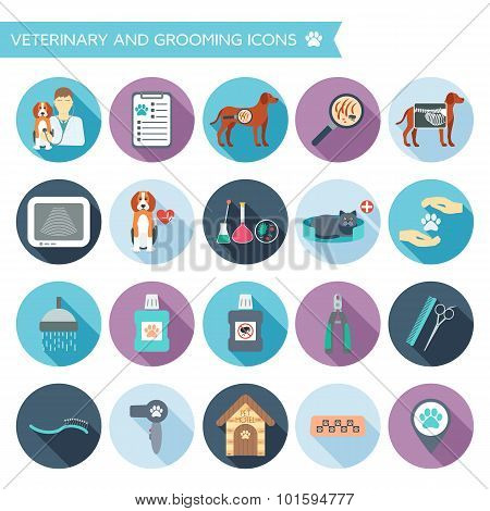 Set Of Veterinary And Grooming Icons With Names. Colorful Flat Design With Shadows. Vector