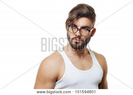 Bearded Man With Eyeglasses Posing In The Studio